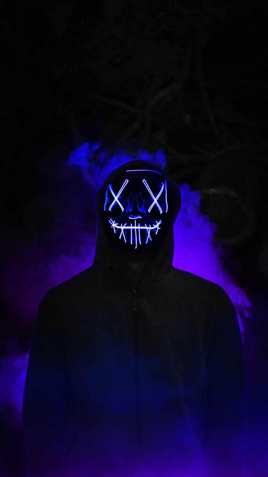 Neon Mask Hoodie Guy Smoke