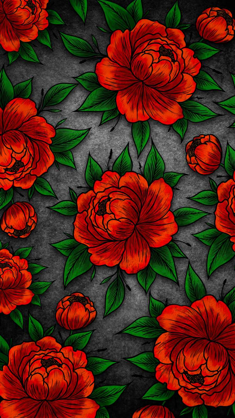 Red Flowers iPhone Wallpaper