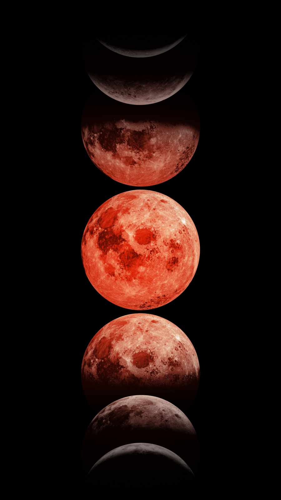 Red Moon Phase iPhone Wallpaper