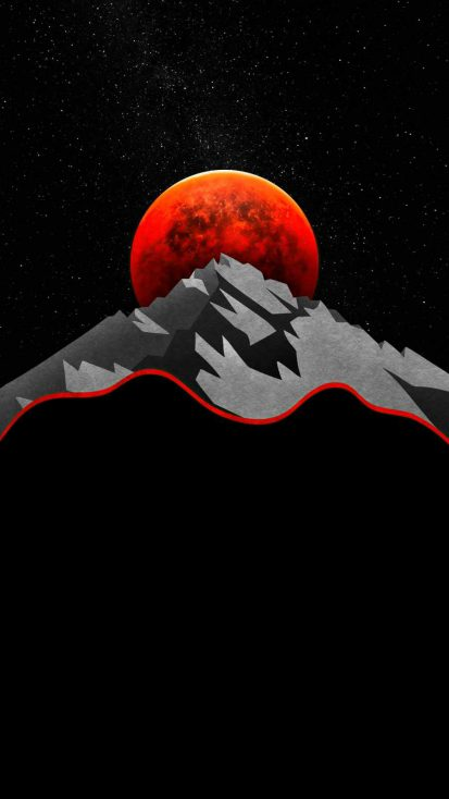 Red Sun Between Mountains