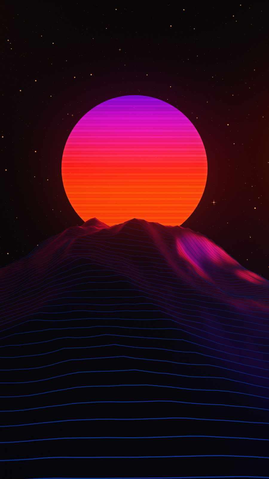 Retro Moon iPhone Wallpaper