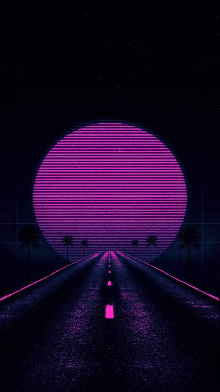 Retrowave Road iPhone Wallpaper