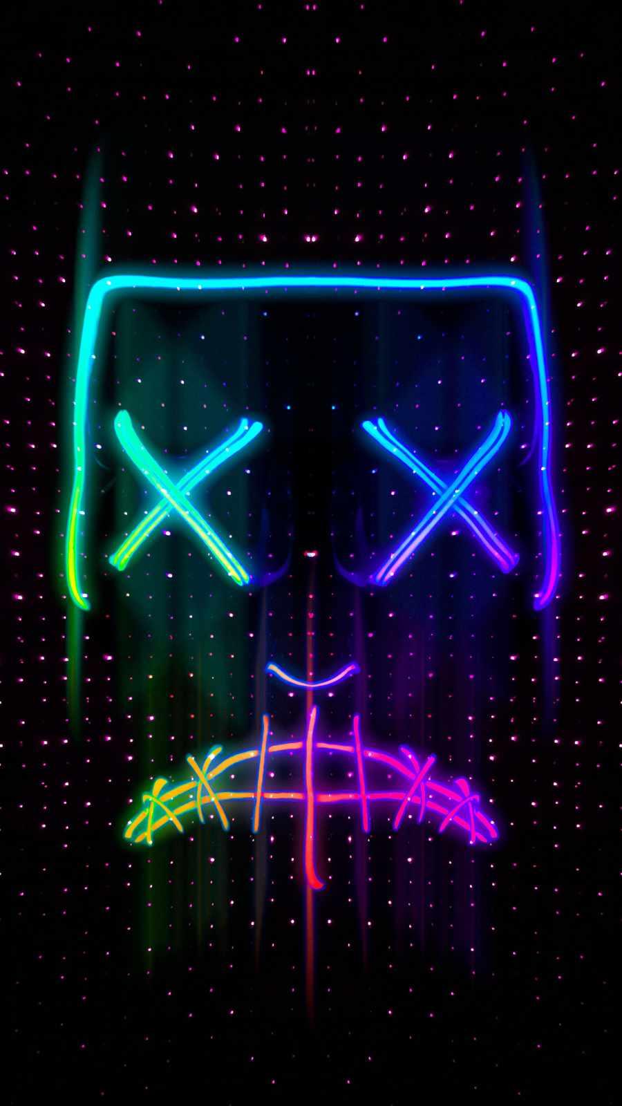 Sad Mask Neon iPhone Wallpaper