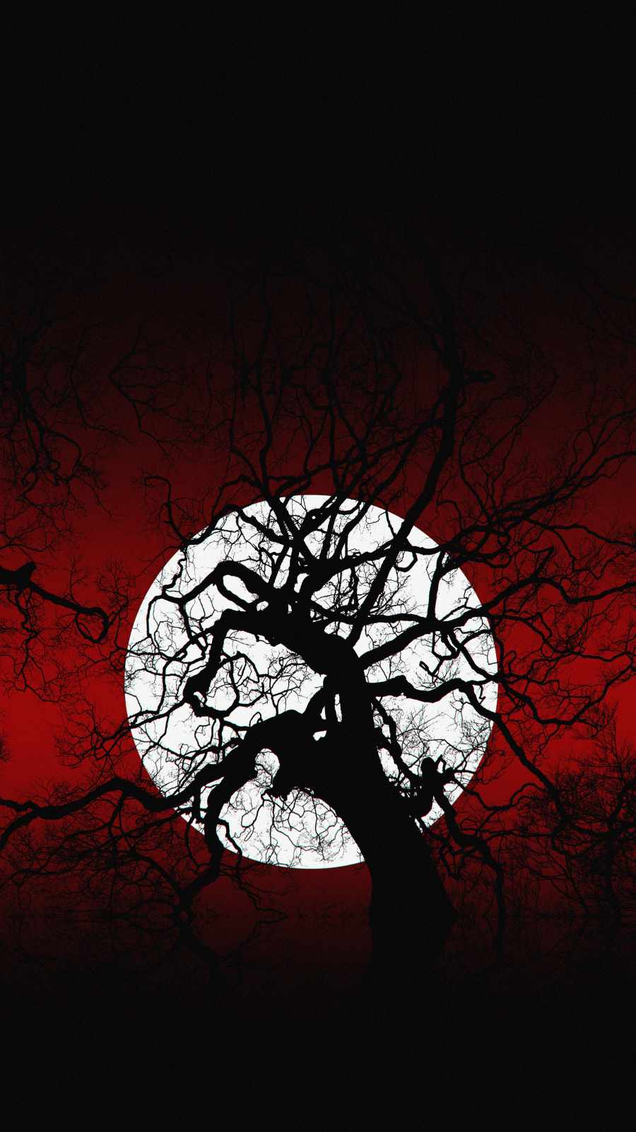 Scary Moon Tree iPhone Wallpaper