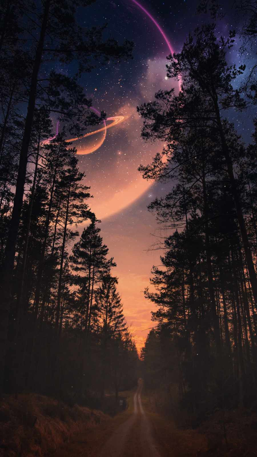 Space view from Forest Near Saturn Planet