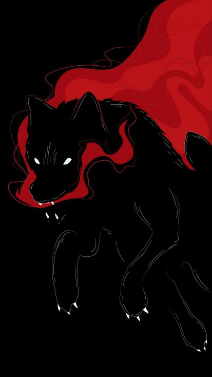 Black Wolf Art iPhone Wallpaper