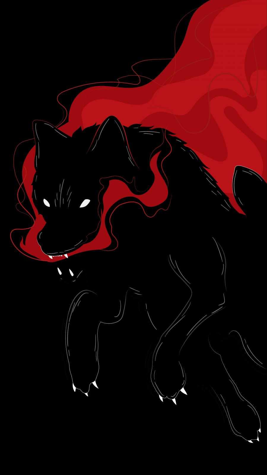 Black Wolf Art iPhone Wallpaper