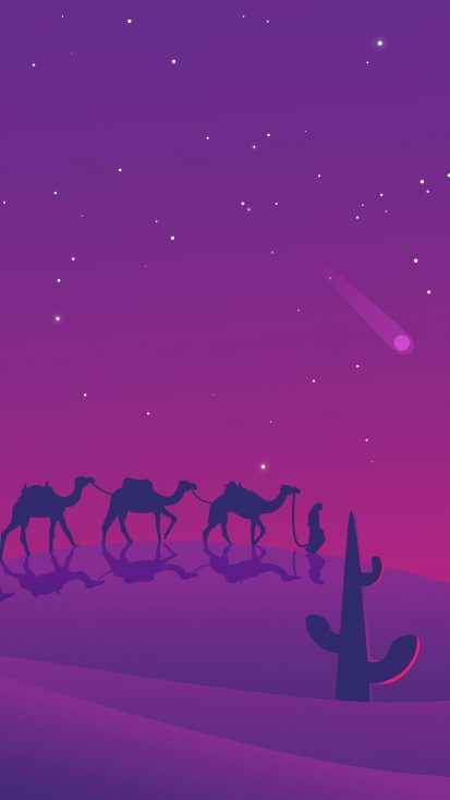 Camels Desert Evening Minimal iPhone Wallpaper