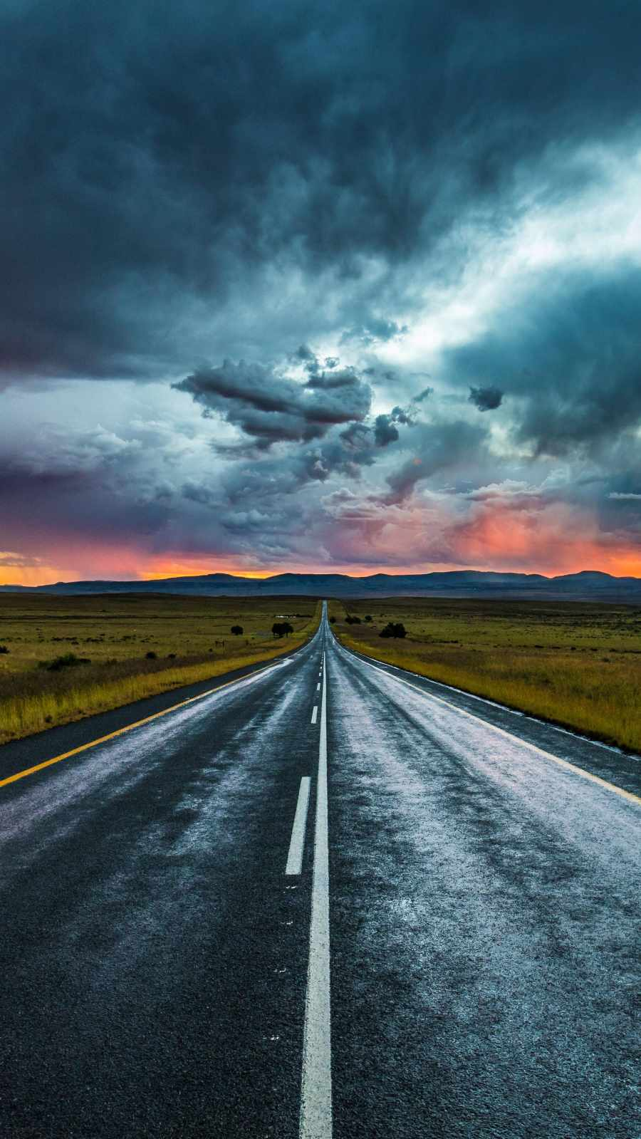 Cloudy Road iPhone Wallpaper