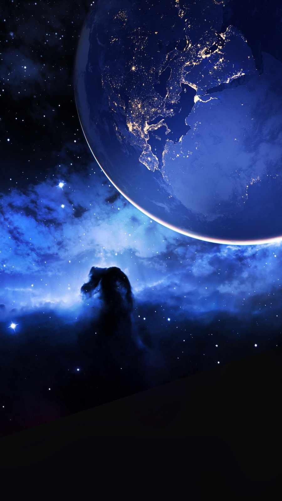 Earth Space Nebula iPhone Wallpaper