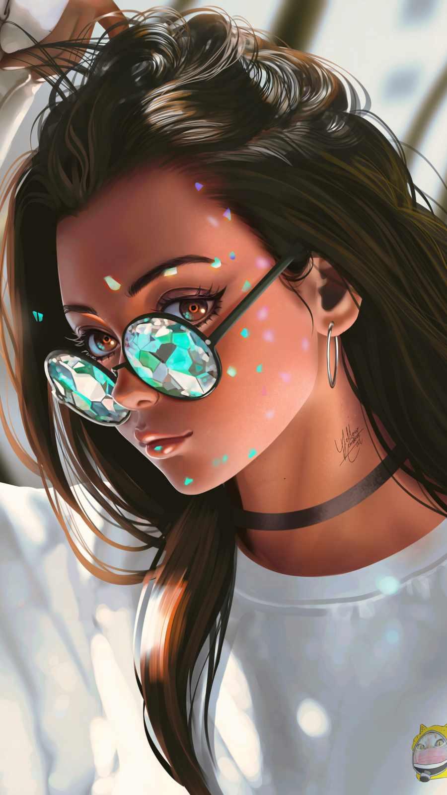 Fashion Girl Sunglasses iPhone Wallpaper