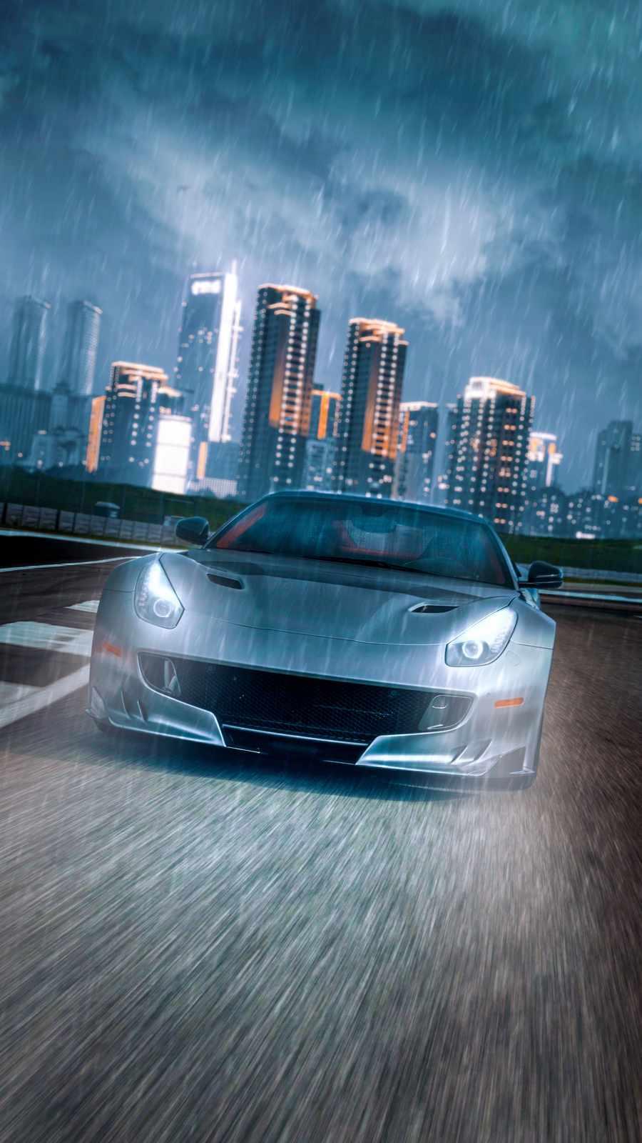 Ferrari in Rain iPhone Wallpaper