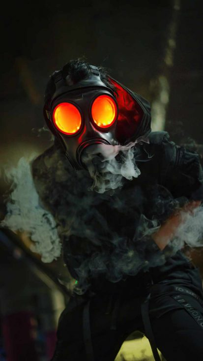 Gas Mask Glowing Eyes