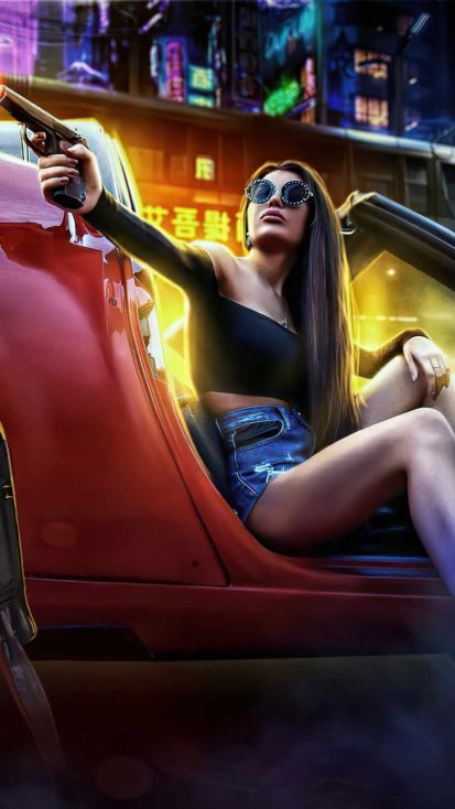 Girl with Gun in Car Pointing Gun Scifi