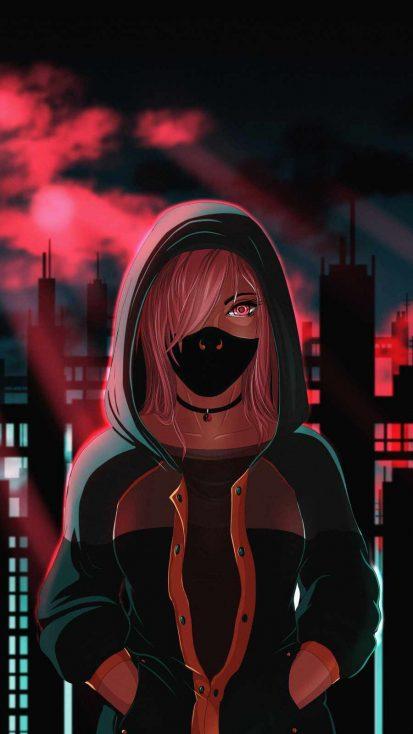 Hoodie Masked Girl Anime