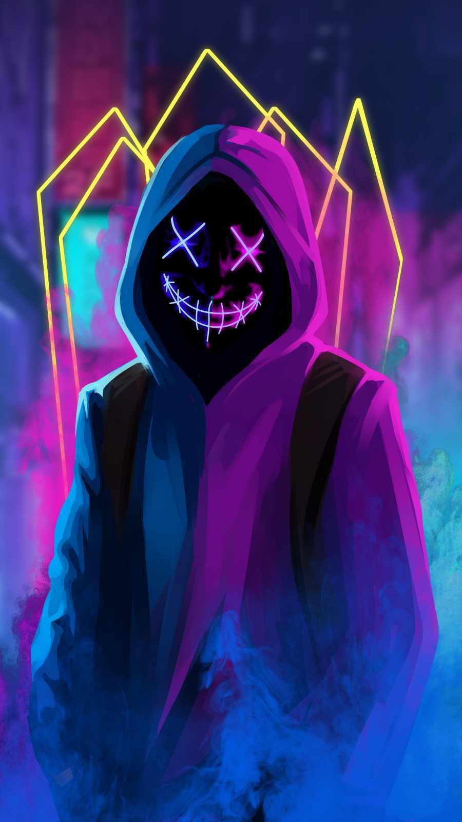 Hoodie Neon Mask Guy Smoke