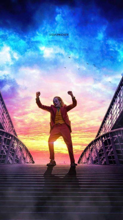 Joker Dancing on stairs iPhone Wallpaper