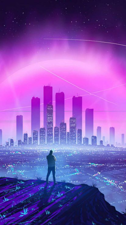 Lights of city Synthwave