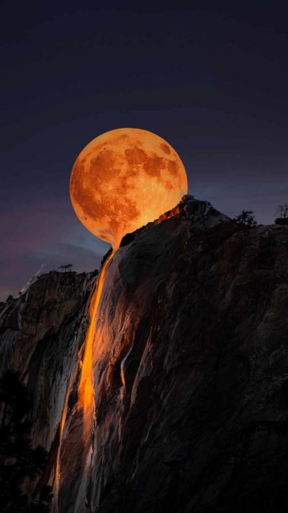 Moon Horsetail Falls Yosemite National Park