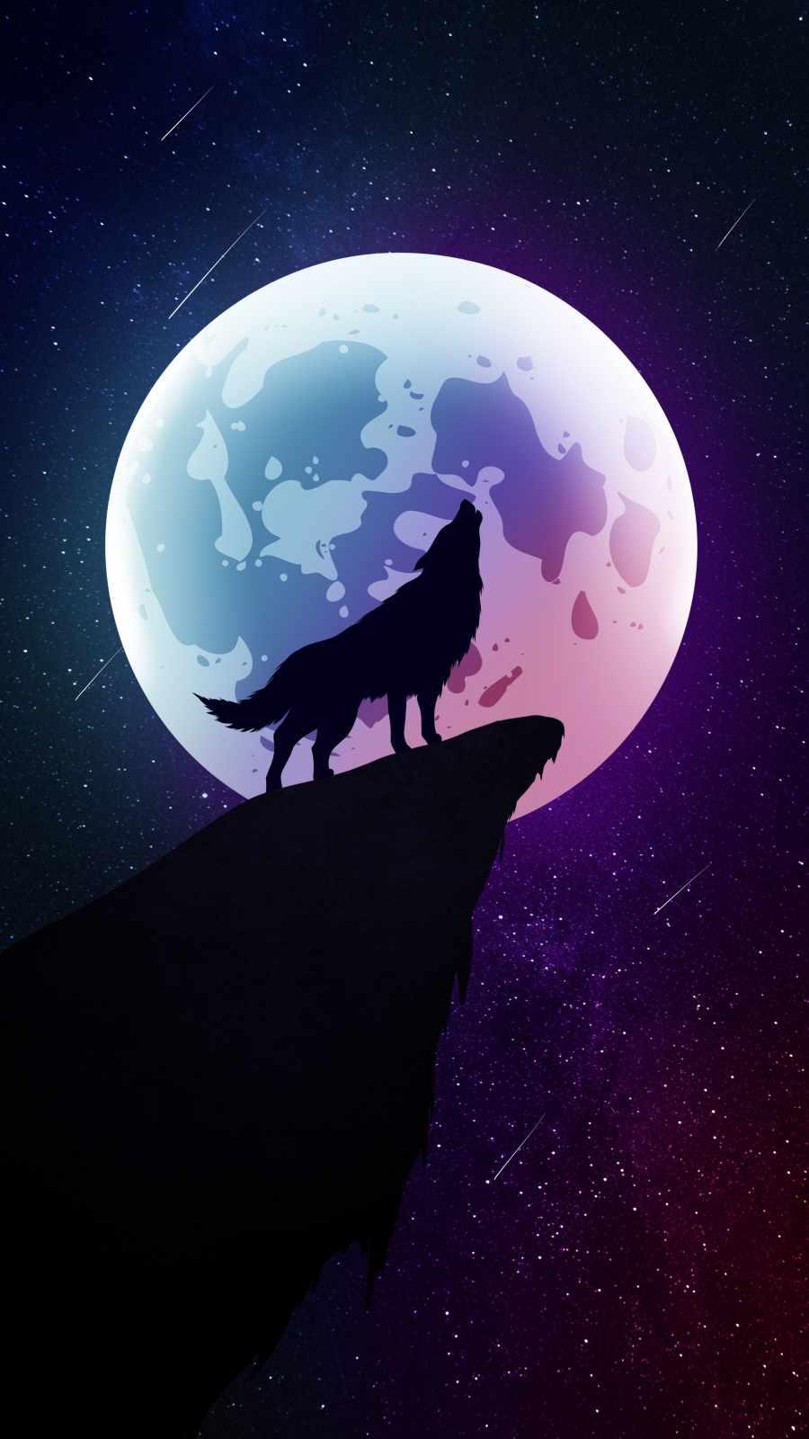 Moon Wolf Howl iPhone Wallpaper