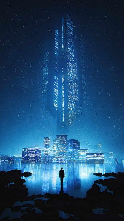My Blue City 4K iPhone Wallpaper