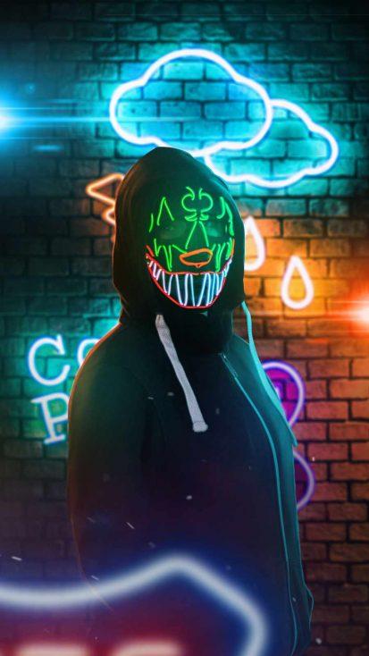 Neon Mask Hoodie Girl