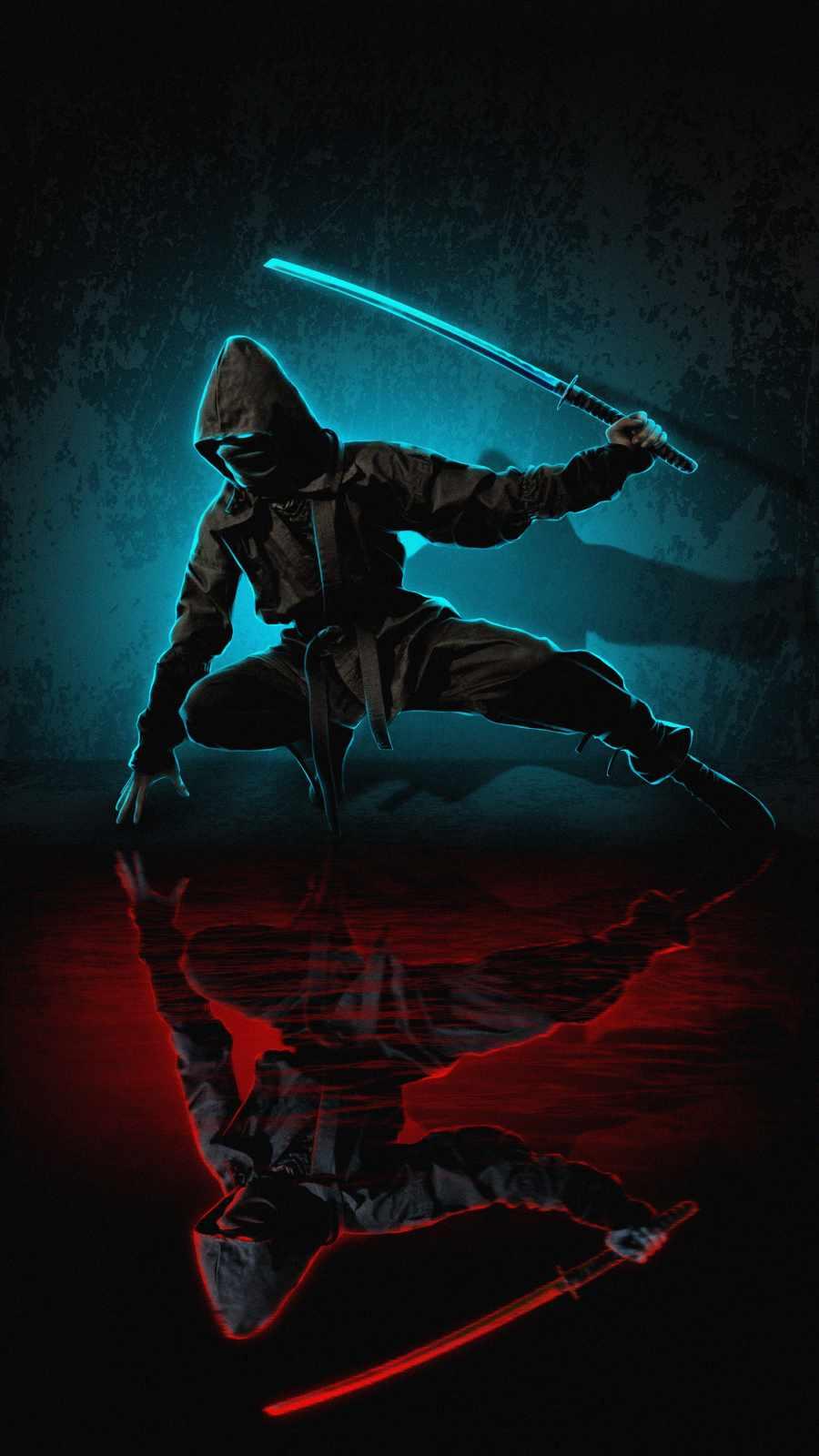 Ninja with Sword iPhone Wallpaper