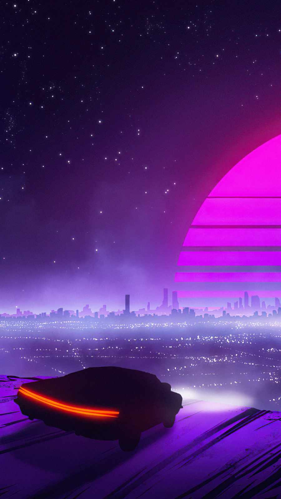 Retro Car to Synthwave City