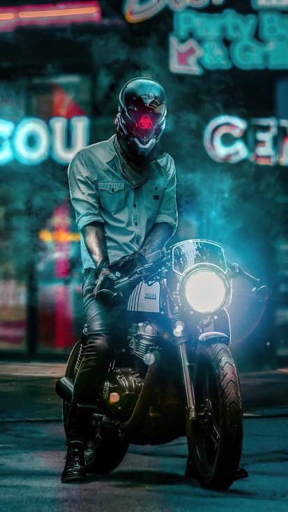 Scifi Biker Boy iPhone Wallpaper