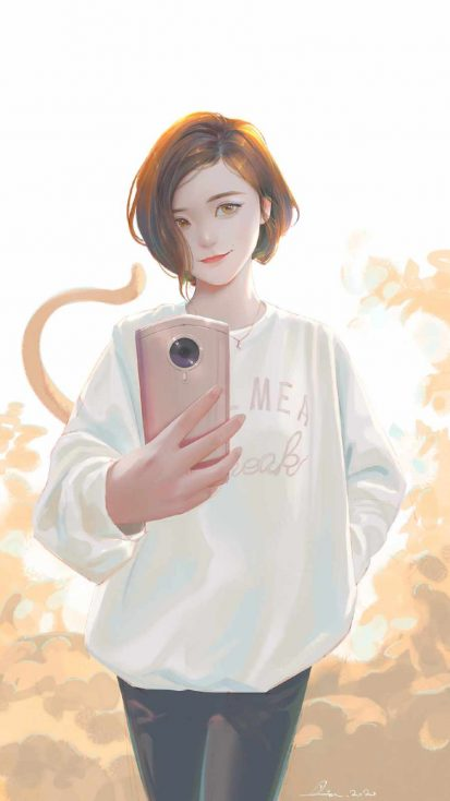 Selfie Girl iPhone Wallpaper