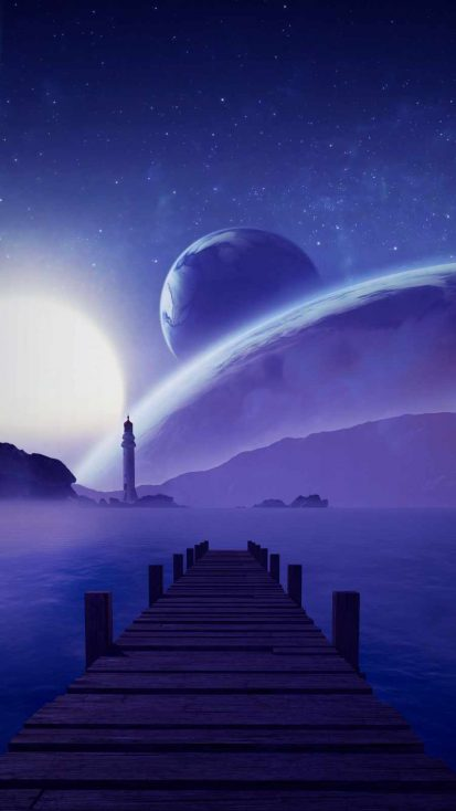 Space Planets Lighthouse Pier