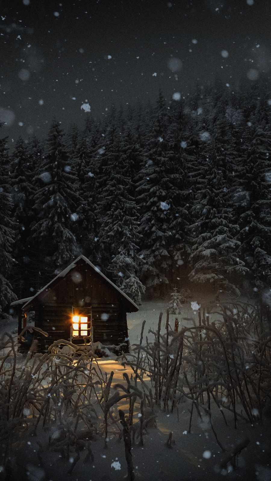 Winter Snow House iPhone Wallpaper