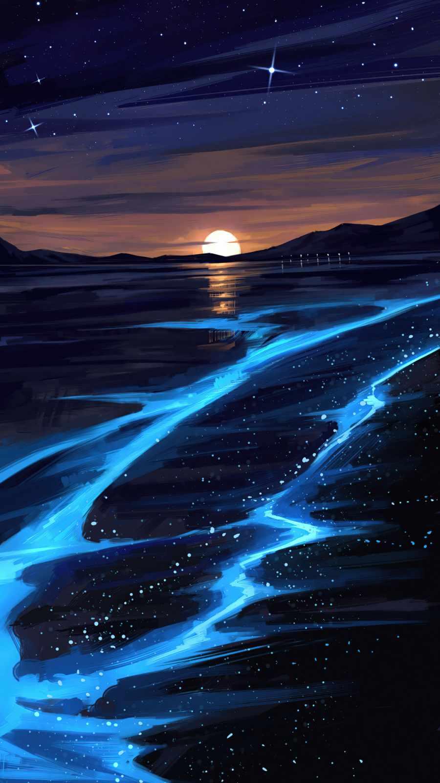 infinity Sunset Glowing Lake