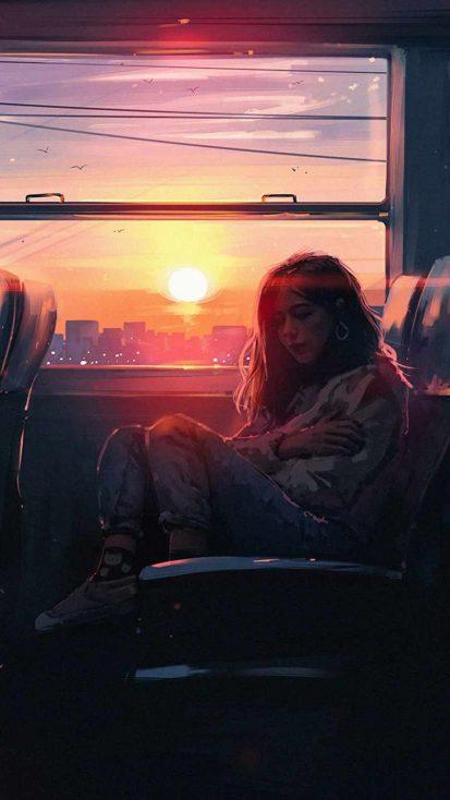 Alone in train iPhone Wallpaper