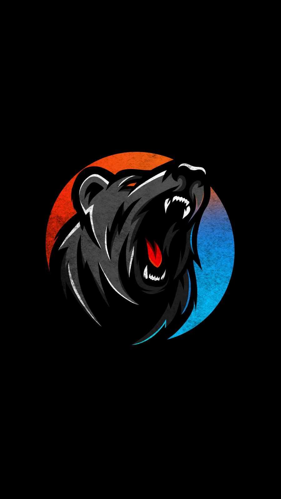 Angry Bear Minimal iPhone Wallpaper