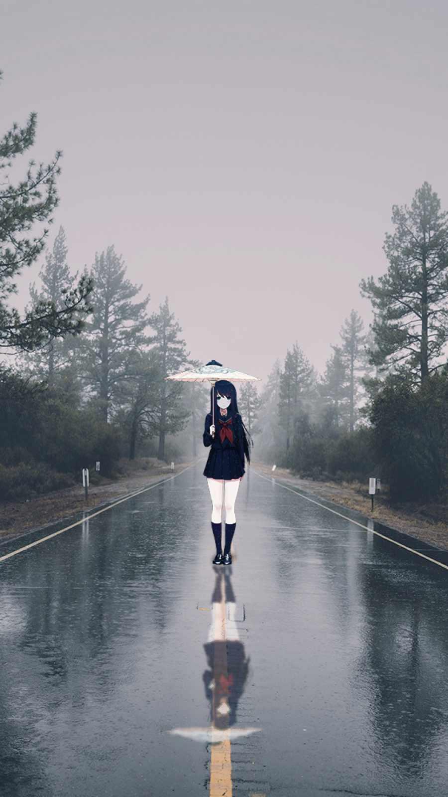 Anime Girl in Rain iPhone Wallpaper