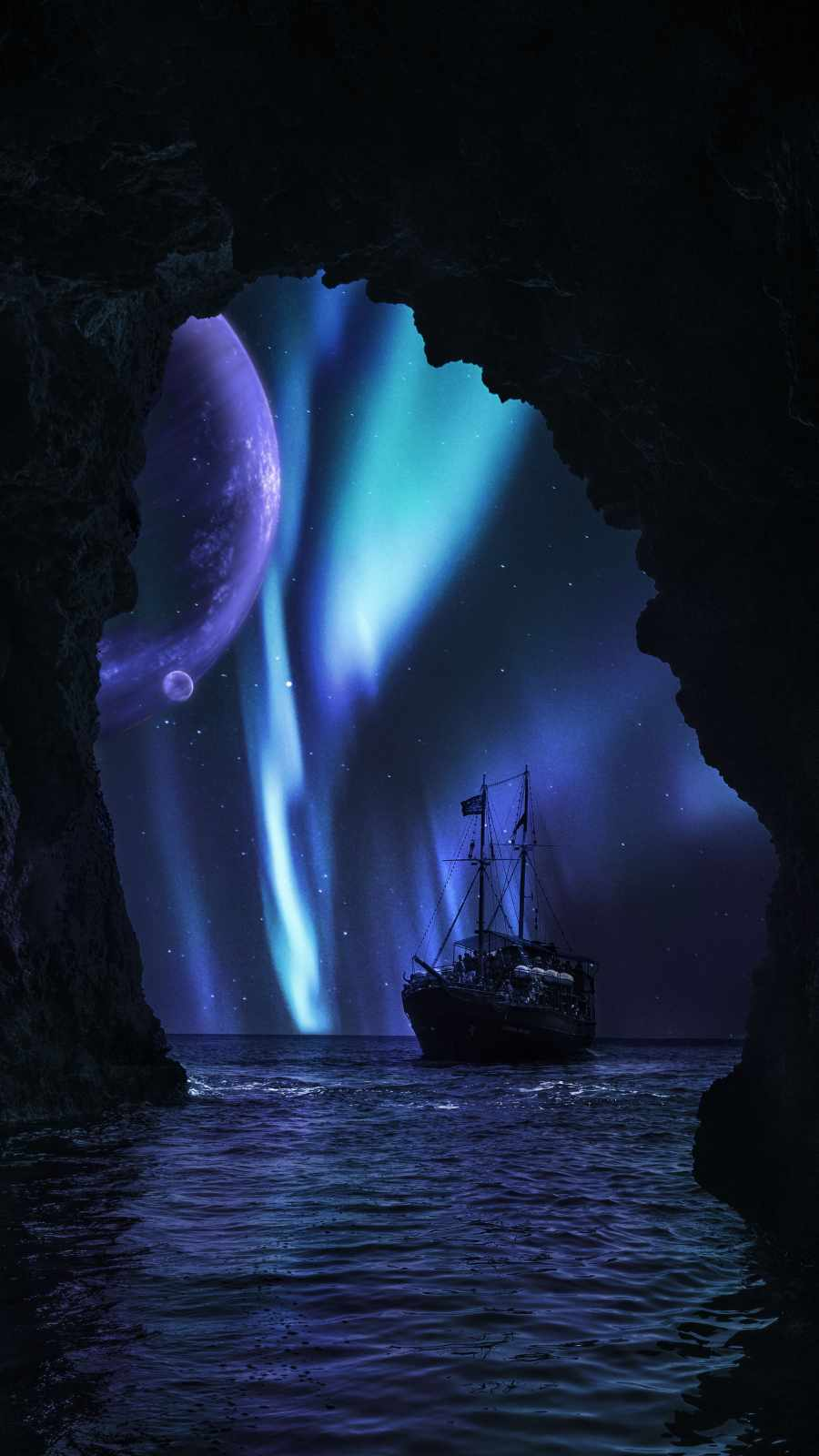 Aurora Night Ocean Ship