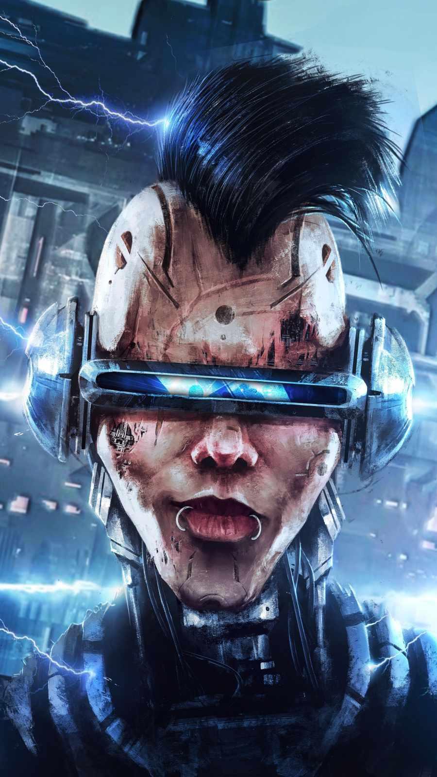 Cyborg Face iPhone Wallpaper