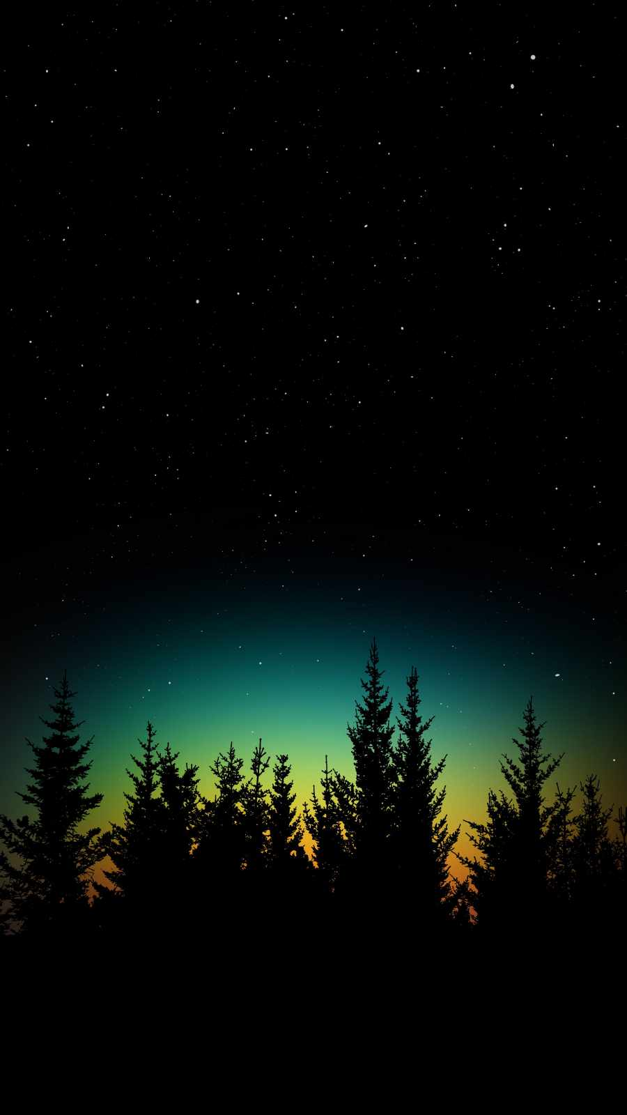 Dark Starry Night Trees