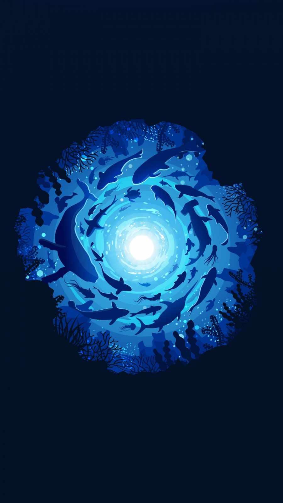 Fish Swirl iPhone Wallpaper