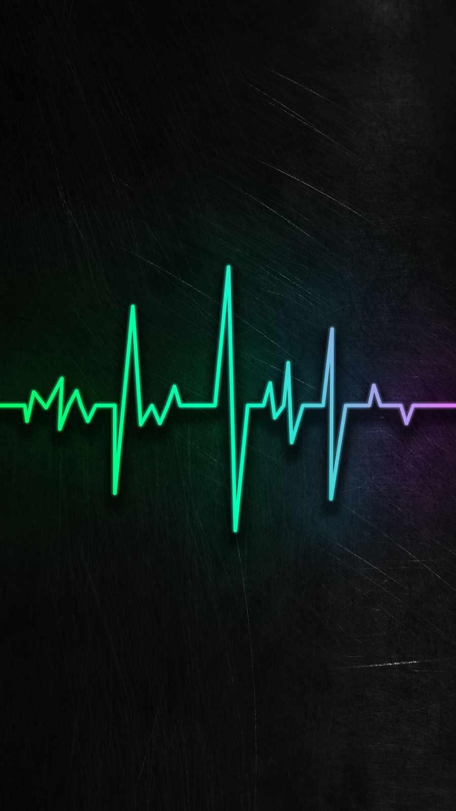 Heartbeat Neon iPhone Wallpaper