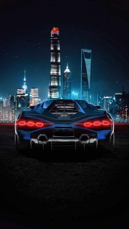 Lamborghini City iPhone Wallpaper