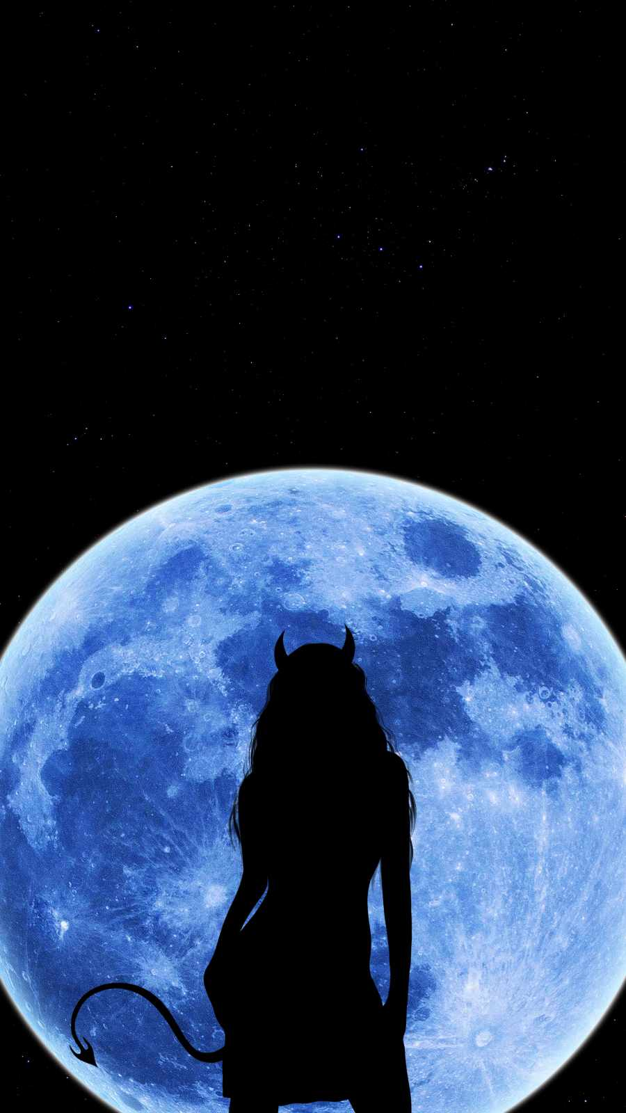 Moon Devil Girl iPhone Wallpaper