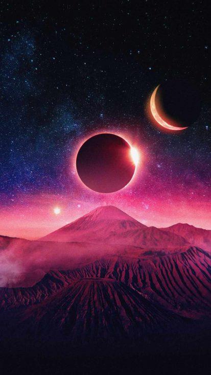 Moon Eclipse Art iPhone Wallpaper