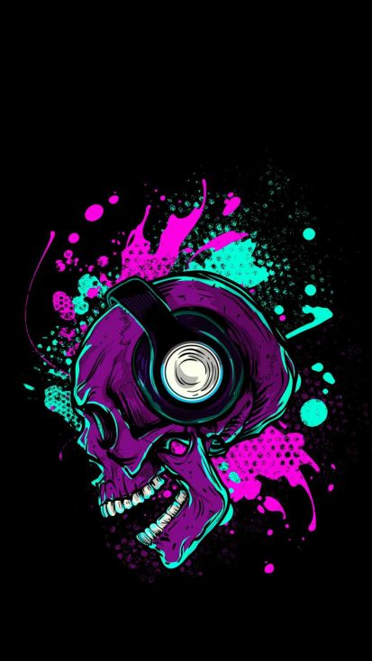 Music Skull iPhone Wallpaper