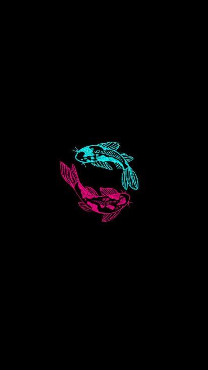 Neon Fish iPhone Wallpaper