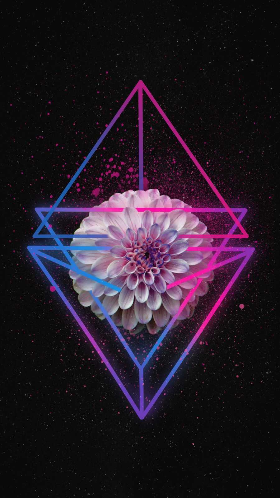 Neon Flower iPhone Wallpaper
