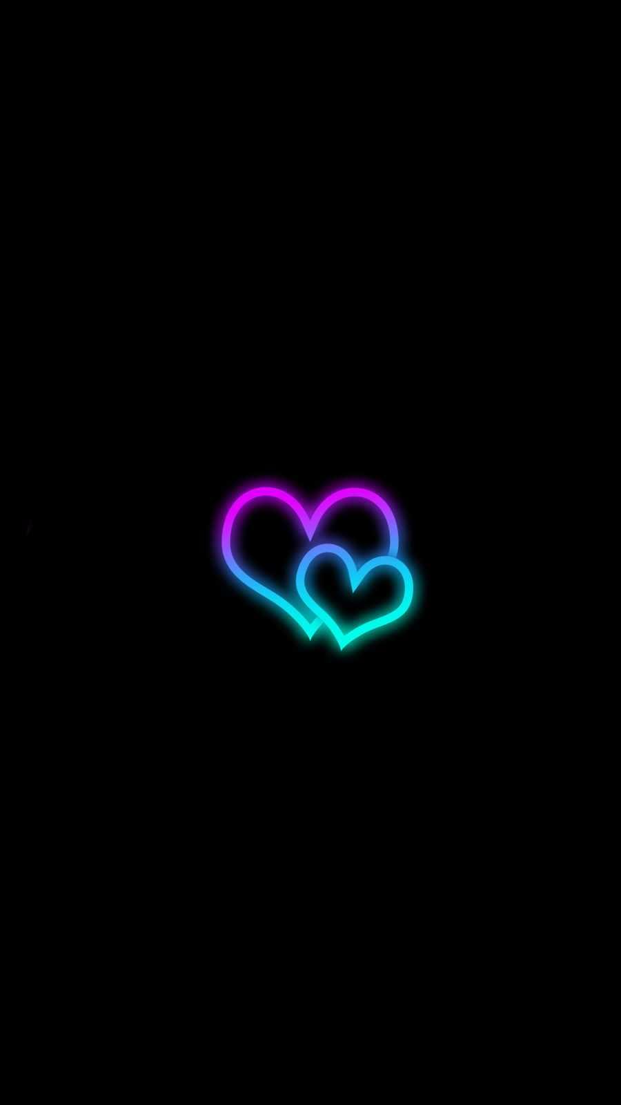 Neon Heart iPhone Wallpaper