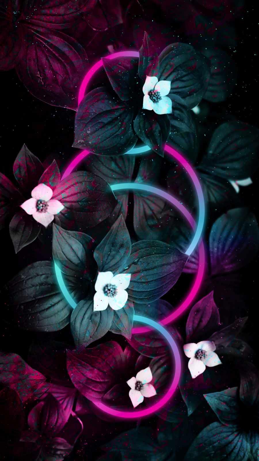 Neon Rings in Flower Foliage