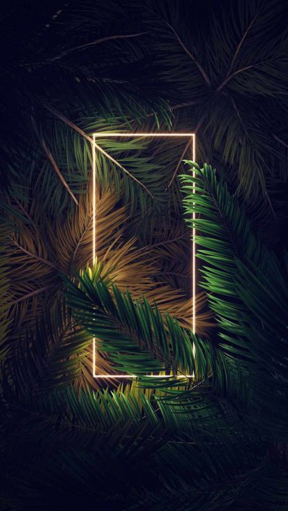 Neon Square Light in Foliage